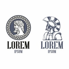 Ancient Greece philosopher head and Spartan warrior in the traditional helmet on his head . Illustration For Emblem, Logo, icon in vintage style.
