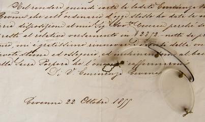Antichi occhiali e lettera