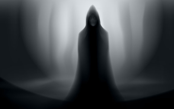 spooky man in cloak halloween forest scene editable vector