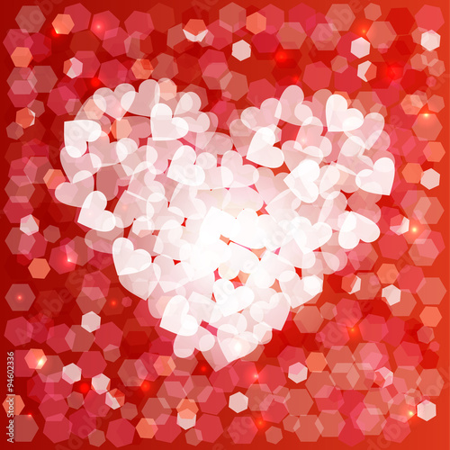 valentines day love heart shape bokeh card background stock image