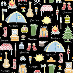 Pattern on the theme of tourism, camping
