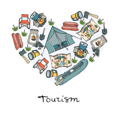 Stylized heart with symbols of tourism, camping