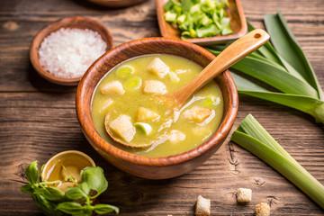 Leek soup in a bowl