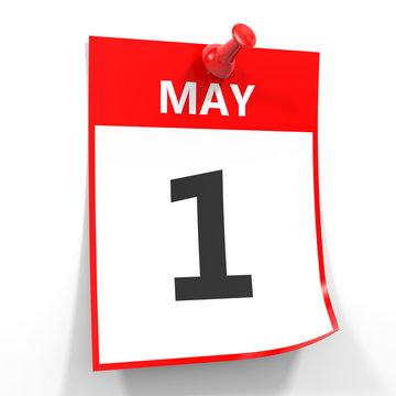 1 may calendar sheet with red pin.