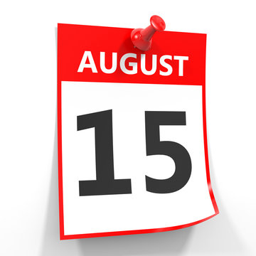 15 august calendar sheet with red pin.