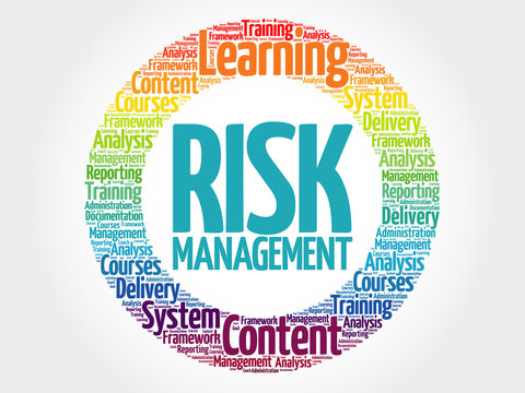 Risk Management circle stamp word cloud, business concept