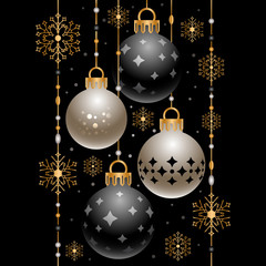 Christmas decoration with golden snowflakes