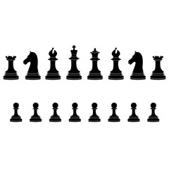 Black chess pieces full collection