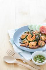 Thai food, shrimp with hot basil.