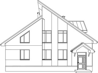 Home 3D model vector. The vector contours of the building.
