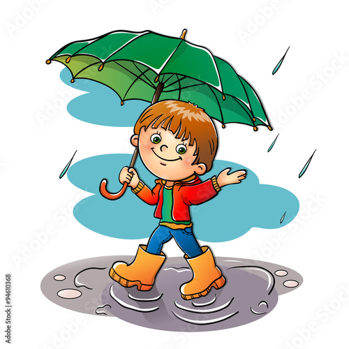 Coloring Page Outline Of a boy walking in the rain\
