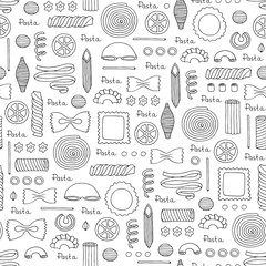 Pattern with hand drawn Italian pasta on white color