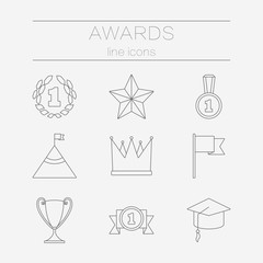 Set of line icons for award success and victory.