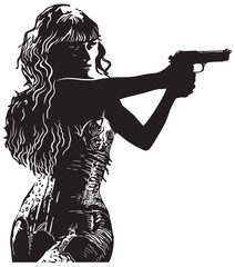 An Girl with the Revolver, Shooter - Hand drawn vector