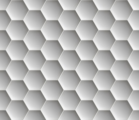 Seamless abstract honeycomb  background - hexagons. Color gray with shadows. Vector illustration.
