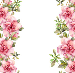 Floral seamless watercolor frame border with pink flowers. Aquarel