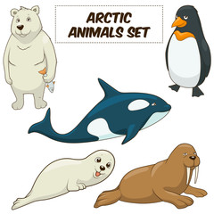 Cartoon arctic animals set vector