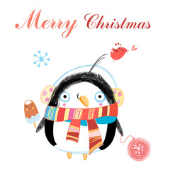 New year greeting card with penguin