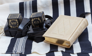 Tefillin and tallit and  Sidur Prayer. Text-tefillin Israel