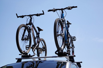 Bikes on trunk of the car