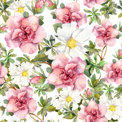 Watercolor vintage flowers. Seamless floral pattern. Retro design