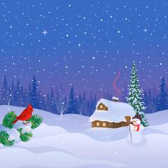 Photo sur Plexiglas Winter cabin scene