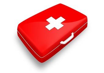 Trousse de secours - Version rouge avec croix blanche