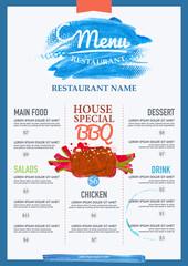 watercolor menu restaurant brochure.