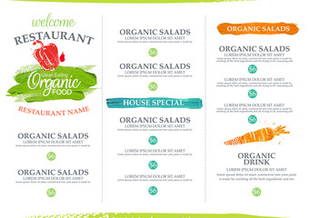 Organic restaurant menu design.