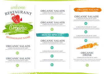 Organic restaurant menu design.