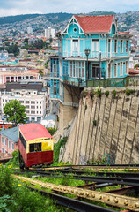Passenger funicular in the historic shall of Valparaiso, Chile