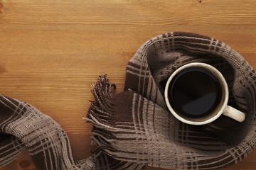 ホットコーヒーとマフラー