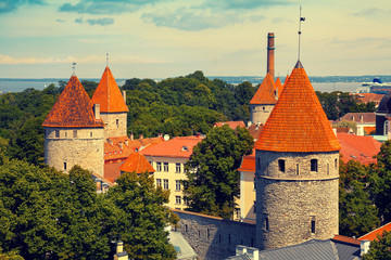 Wall Mural - Panorama of the old town in Tallinn, Estonia