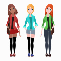 Set of  flat vector hipster girls for  illustrations