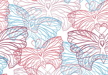 Seamless pattern with butterflies contours on a light background
