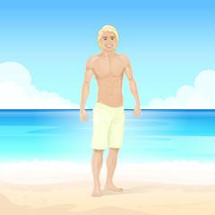 Man Summer Beach, Muscular Body Sexy Guy