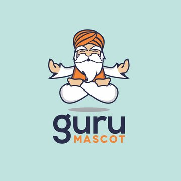 cartoon Guru mascot meditating levitating floating turban clipart icon vector