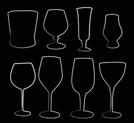 eight glass outlines isolated on black