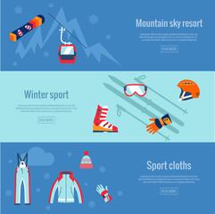 Set of winter sport banners