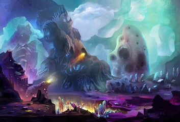 Illustration: The Dragon Planet - It's a place that generate the energy for dragon by gem stone and crystal. The dragon can be found in another artwork. - Scene Design. Fantastic Style
