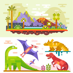 Awesome prehistoric dinosaur set with ancient landscape: tyrannosaurus - rex, diplodocus, triceratops, Jurassic landscape. Flat vector illustration stock set.