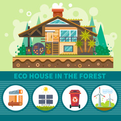 Ecological house in the forest. Clean Environment symbols: alternative energy sources, recycling container, wooden building, solar panels. Stock vector flat illustration set.
