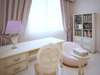 Working place in girl bedroom