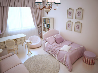 Cute girl bedroom with soft furniture