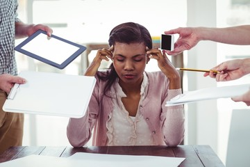 Businesswoman stressed out at work