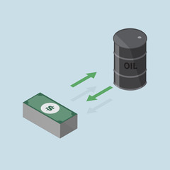 investment concept changing between oil or keep the money