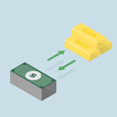 investment concept changing between gold or keep the money -vect