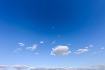 Beautiful blue sky with white clouds in the autumn