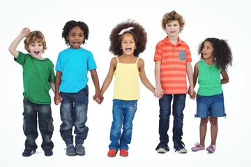 A row of children standing together