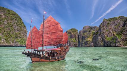 Maya beach with original chinese boat near phuket